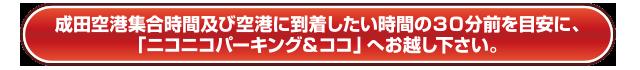 成田空港集合時間及び空港に到着したい時間の30分前を目安に、「ニコニコパーキング&ココ」へお越し下さい。
